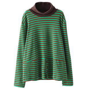 小耳出品新款秋冬大碼女高領條紋棉質上衣寬鬆顯瘦套頭打底衫T恤