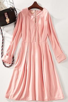 B48 mùa hè mới retro màu tinh khiết đơn giản mỏng dress nữ 7272 Sản phẩm HOT