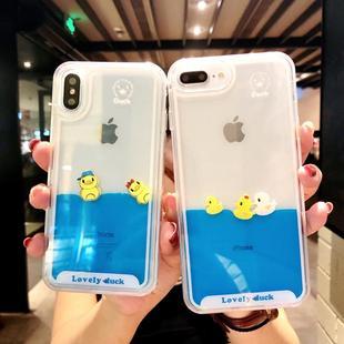 卡通液体流动小鸭子iphone7plus手机壳苹果6s流沙硅胶套6plus软8X