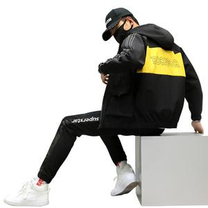 休闲运动套装夹克男2020秋季新款时尚个性跑步连帽外套长裤两件套