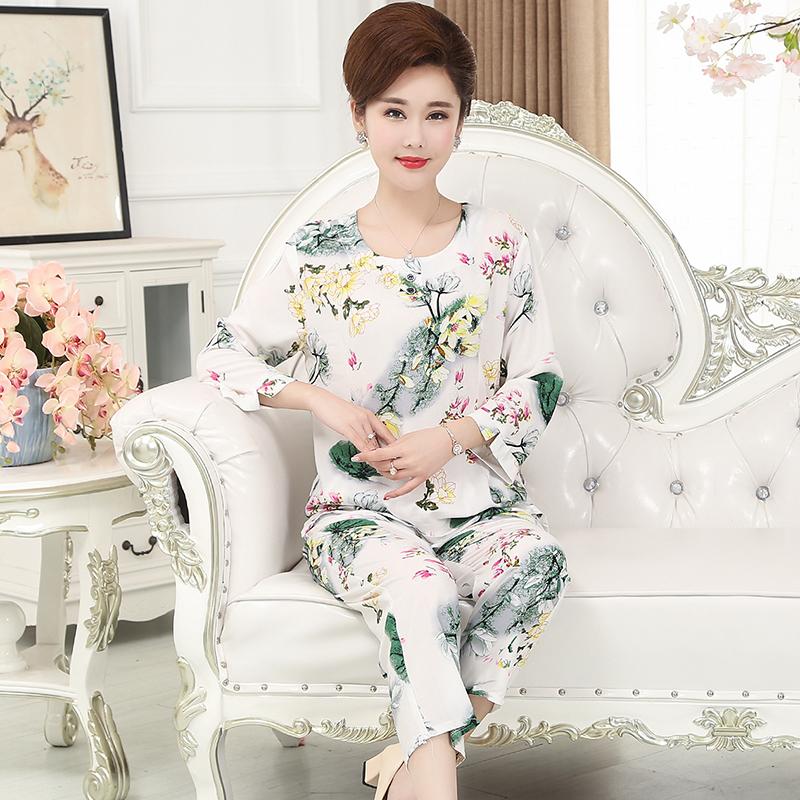 春秋夏季中老年人睡衣女士纯棉绸妈妈款中长袖绵绸人造棉两件套装(优惠价3元卖出6410件)