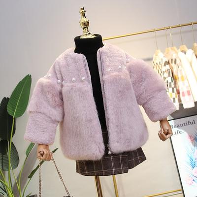 女童皮草外套冬装新款宝宝洋气仿水貂毛上衣儿童加厚毛毛衣