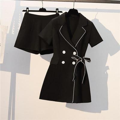单件/套装 大码女2021夏季新款微胖妹妹显瘦减龄遮肚长裤两件套装
