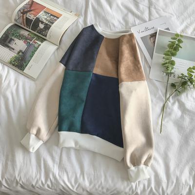 Mùa xuân mới 2018 Hồng Kông phong cách nhỏ tươi lưới khâu màu sắc tương phản của nam giới da lộn Hàn Quốc áo khoác giản dị áo len Áo len