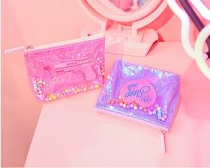 Nhật Bản PVC kết cấu bằng laser hạt dễ thương dây kéo ví nhỏ lưu trữ túi mỹ phẩm túi đồ lặt vặt túi
