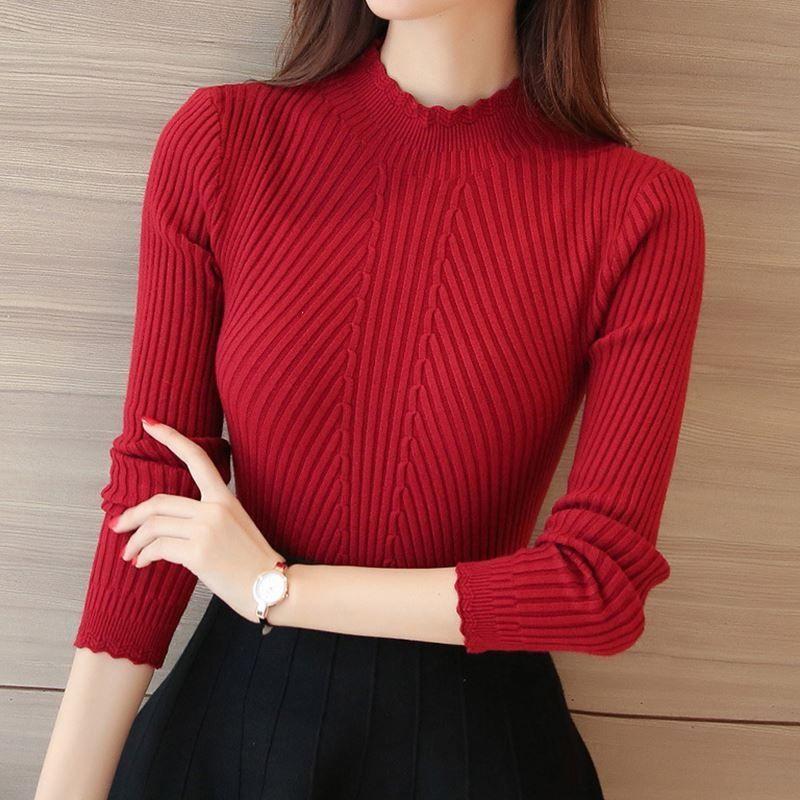 秋冬女装花边领修身短款性感通勤半高领纯色针织打底衫女长袖毛衣