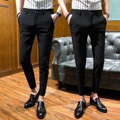 Mùa hè chín quần nam quần âu 2018 Hàn Quốc phiên bản của quần xu hướng Slim chân quần 9 điểm quần đen nam