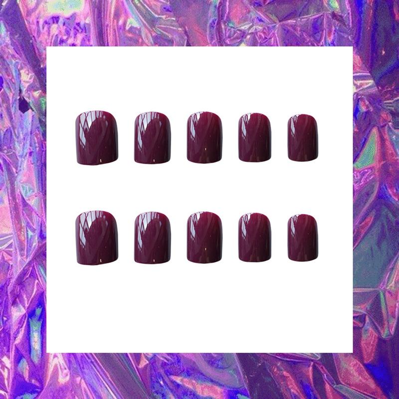 指甲贴片酱紫方短款方头 美甲成品ins网红欧美穿戴式可拆卸可摘带