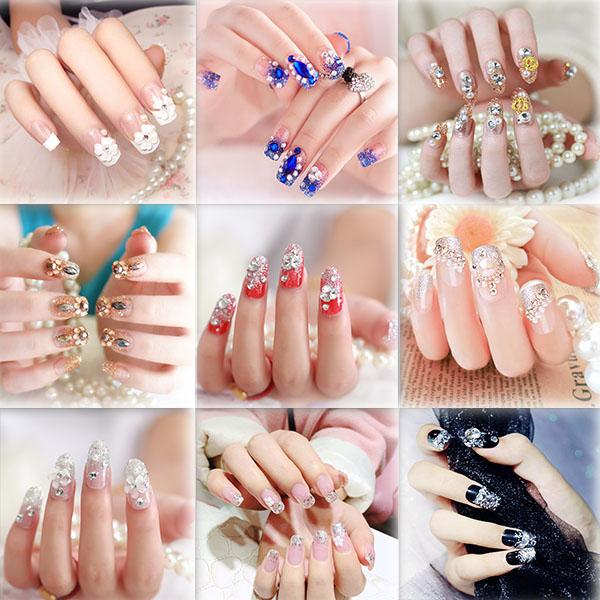 假片指甲贴可卸穿戴式新娘拍照假指甲影楼专用网红水钻成品手甲片