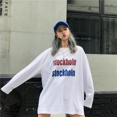 实拍 韩版春秋季学院风字母印花宽松白色长袖T恤女  35棉