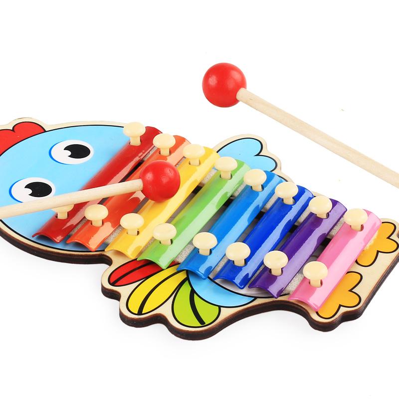 婴幼儿童八音手敲琴钢琴8个月打击乐器宝宝音乐玩具1-3周岁小木琴