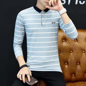 修身男式T恤 秋冬新款男T恤衫韩版条纹翻领套头 1037-2203#