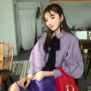 现货。韩国  chic风 复古格子衬衫+半身裙 套装  实拍