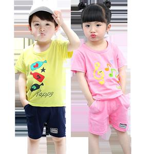 Trẻ em ngắn tay phù hợp với mùa hè mới chàng trai và cô gái cotton trẻ em của bé giải trí thể thao ngắn tay phù hợp với thủy triều