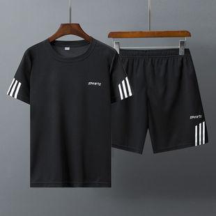 流行夏季男士T恤短袖圓領修身韓版潮流半袖體恤休閑運動套裝夏天