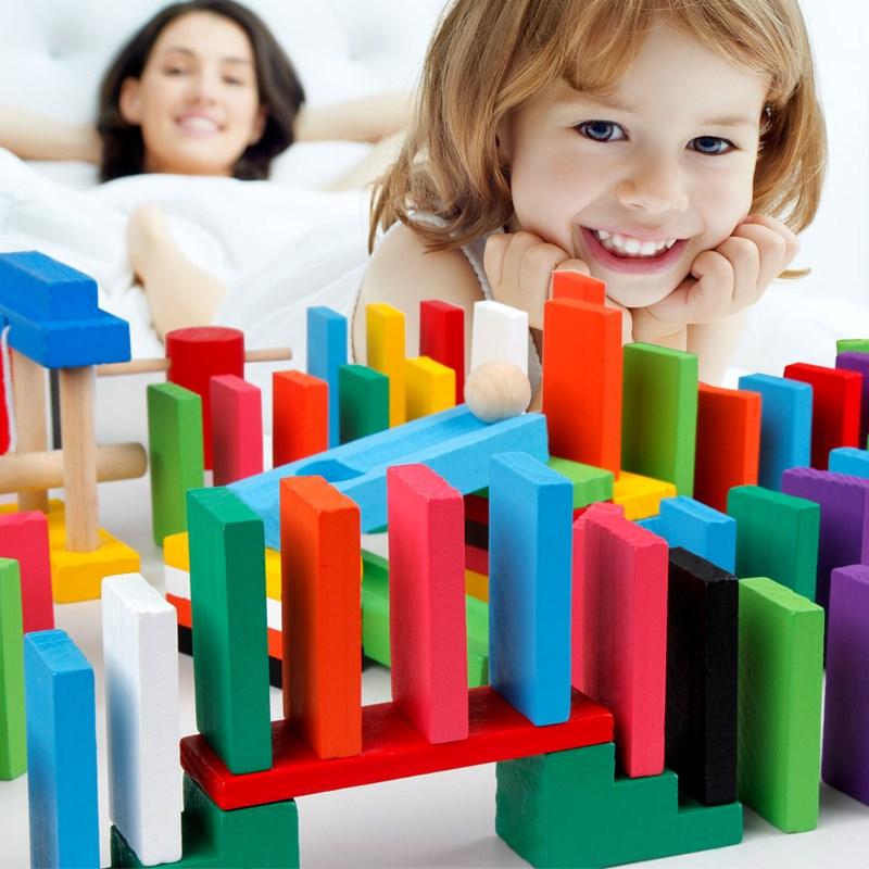 1000 viên domino cho trẻ em trong giai đoạn phát triển sớm của khối xây dựng trí tuệ cạnh tranh đồ chơi tiểu học - Khối xây dựng