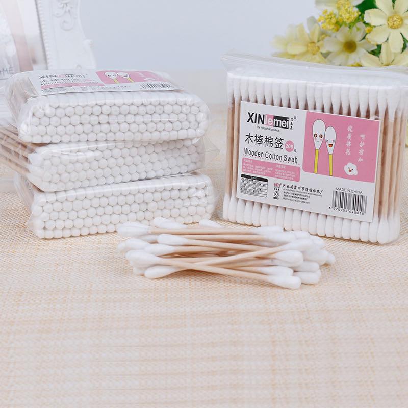 纯棉双头化妆棉签200支清洁家用护理无菌大头卸妆木棒