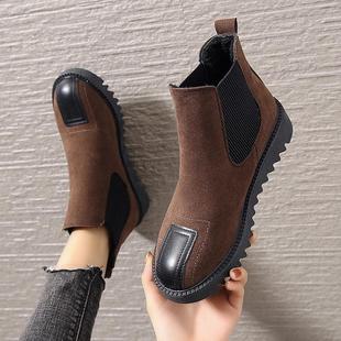 2019秋冬新款切尔西靴平底女短筒厚底棉靴复古短靴百搭加绒女靴子