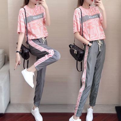 夏季2021新款运动服休闲套装两件套韩版时尚休闲女装学生服套装男