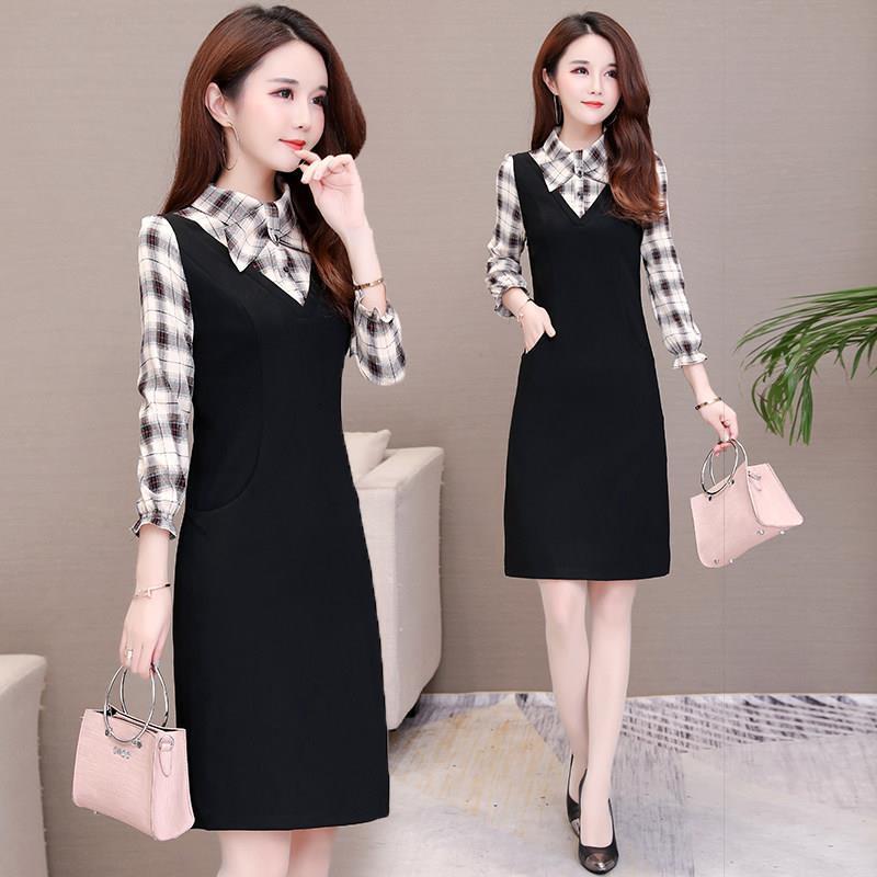 长袖连衣裙女装春秋冬季2021新款韩版修身显瘦拼接假两件包臀裙子