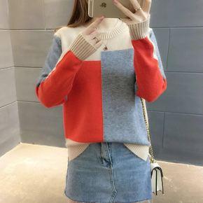 女拼色套头韩版小清新毛衣针织衫