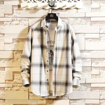 2019款格子衬衫男长袖韩版ins潮流工装帅气休闲衬衣外套港风衬衫
