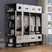 简易衣柜收纳架塑料布推拉门双人实木钢管加粗加固单人卧室家具柜