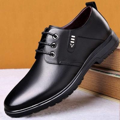 男鞋春季新款休闲皮鞋英伦风商务正装内增高男士软底鞋系带爸爸鞋