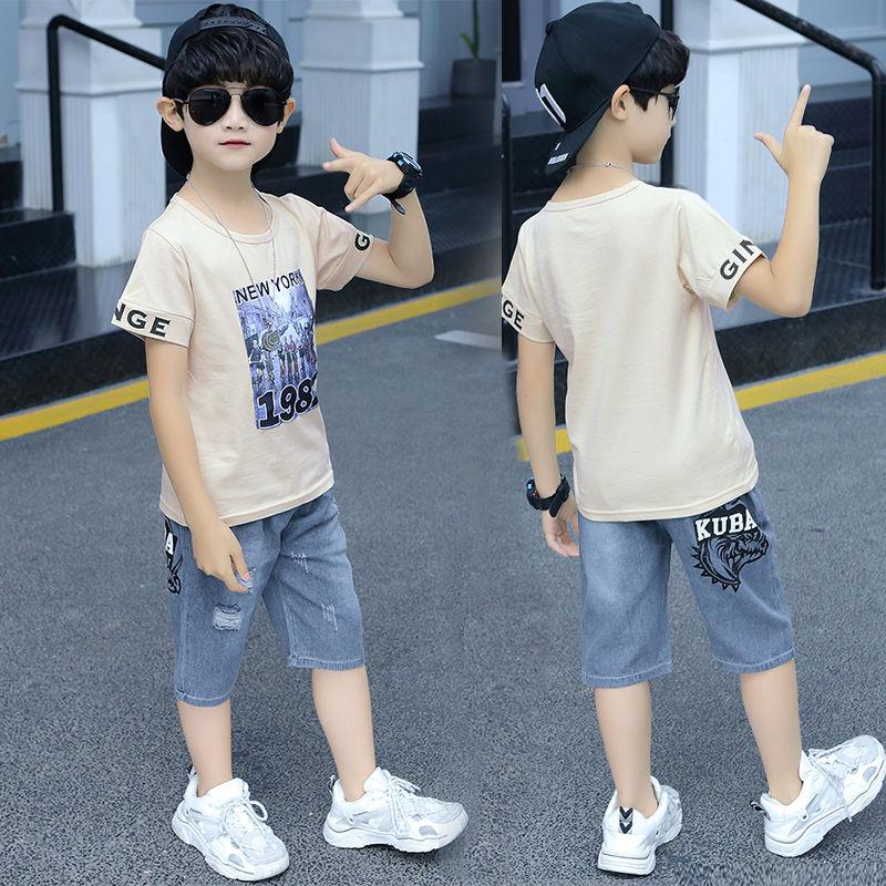 男童夏季短袖五分裤套装半袖牛仔短裤两件套