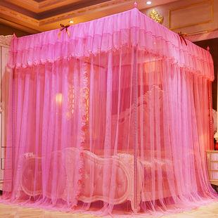 三开门加粗支架宫廷式公主风加密家用蚊帐