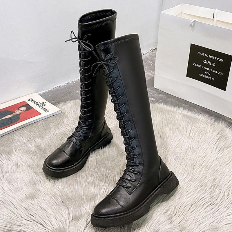 长靴骑士长筒马丁靴女2020秋冬新款英伦风瘦瘦不过膝中筒秋冬靴