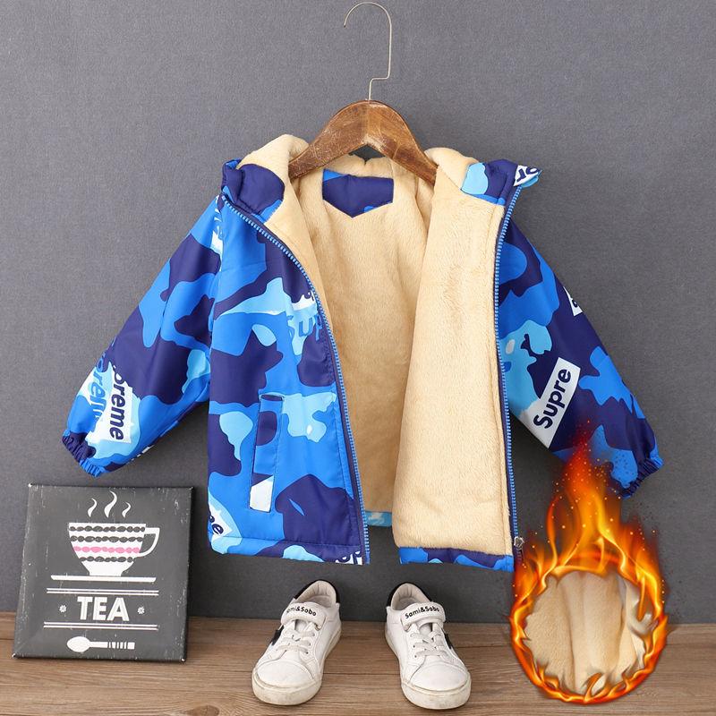 童装男童外套加绒加厚2020秋冬新款儿童冲锋衣中防风保暖外套潮
