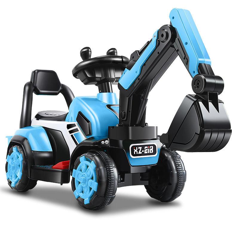 儿童挖掘机可坐可骑大号电动玩具车挖土机钩机滑行车男孩工程车