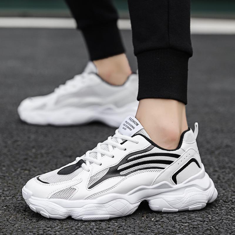 2020新款鞋透气学生男鞋休闲鞋子潮流网面老爹鞋增高跑步运动鞋男