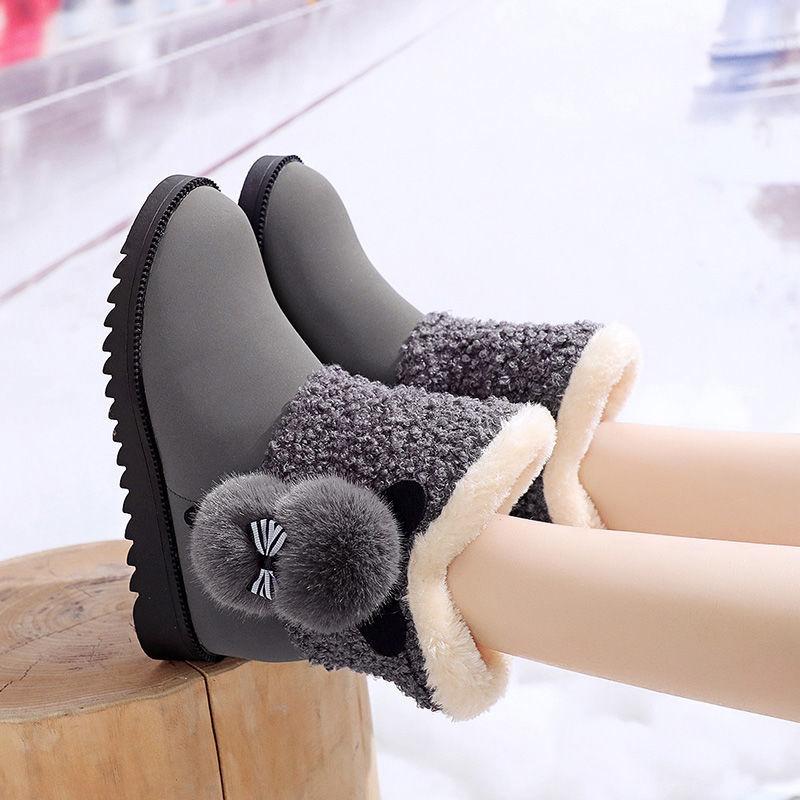 第↓二雪地靴女冬季女款加厚棉靴加绒保】暖中筒