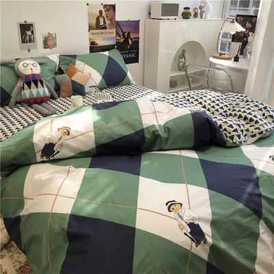 可爱字母熊四件套春夏卡通床上用品水洗棉床单被套三件套学生宿舍