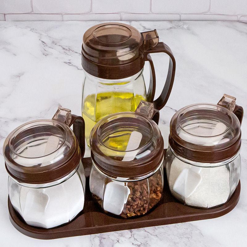 家用油壶酱油瓶醋瓶香油瓶盐罐厨房用品玻璃调料盒调味罐组合套装