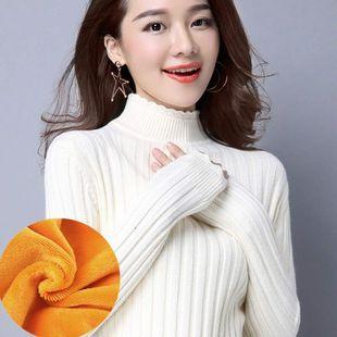韩版修身长袖加厚高领套头打底衫
