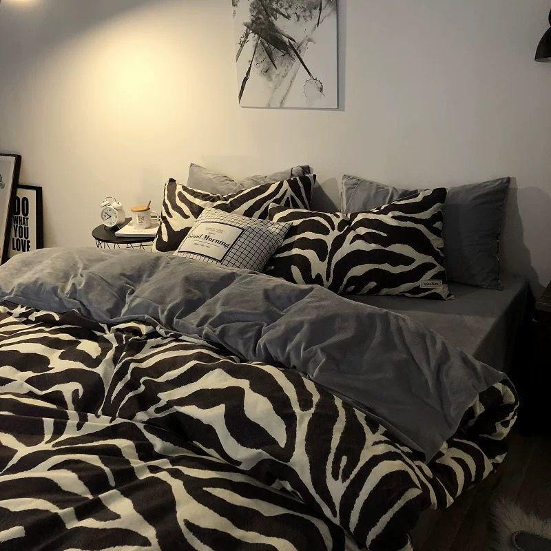 网红ins斑马纹被套水洗棉四件套1.8黑白简约双人床上用品宿舍床品