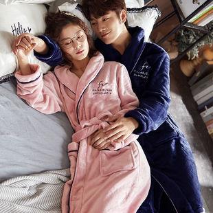 情侶睡衣睡袍珊瑚絨長款加厚浴袍