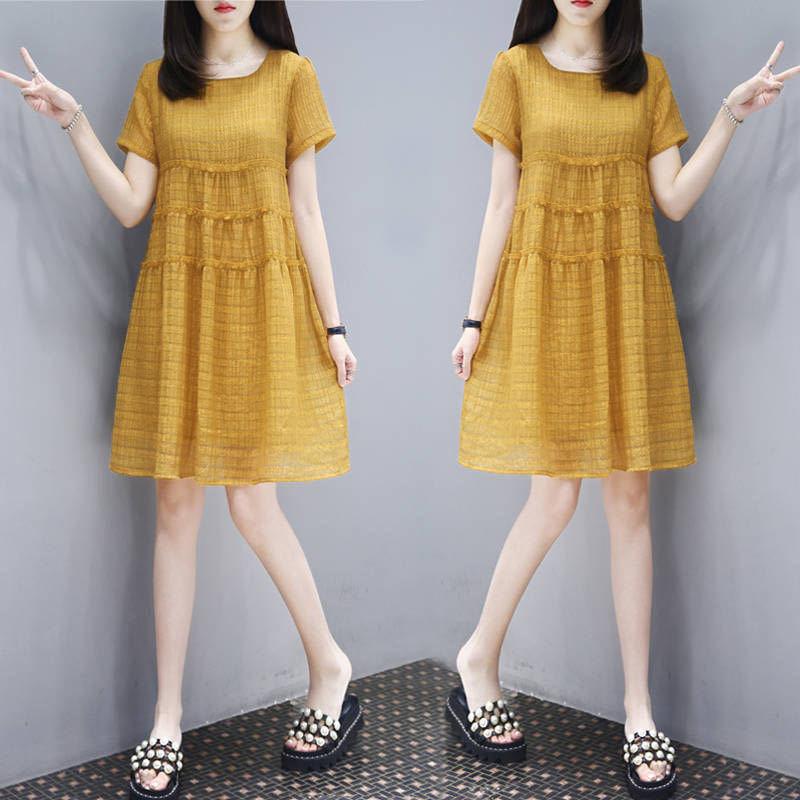 夏季连衣裙胖mm大码宽松中长款裙子