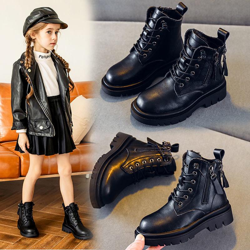 女童马ㄨ丁靴2020年冬季新款大々棉加绒靴中大童英伦风男童短靴儿童靴