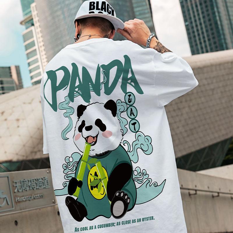 夏季加大加肥国潮嘻哈胖子高街熊猫印花短袖T恤男宽松街头休闲上t