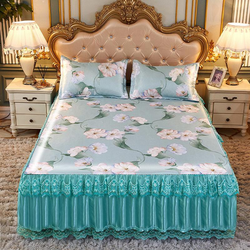 夏季冰丝凉席床裙三件套可机洗折叠1.8米2米1.5家用1.2m空调席子