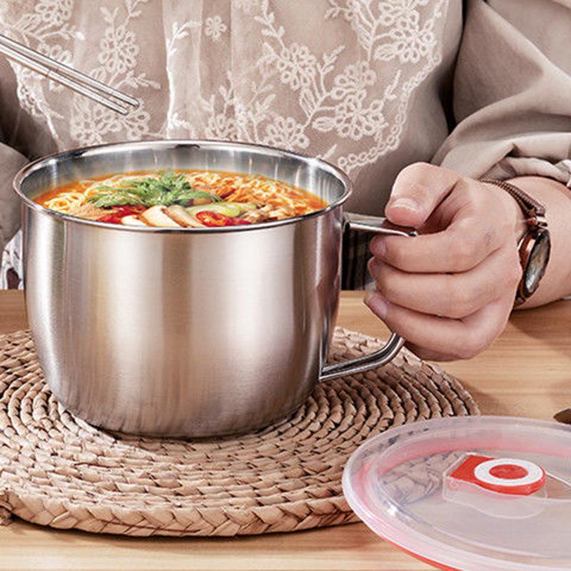 不锈钢泡面�e带盖汤面碗学生饭盒食堂打饭碗快餐方便面杯带筷勺10