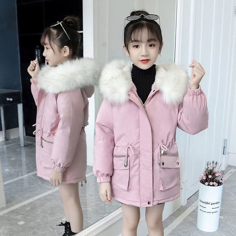 女童派克服�新款2020冬装加绒加厚洋气中大童☆大毛领中长款棉服外套