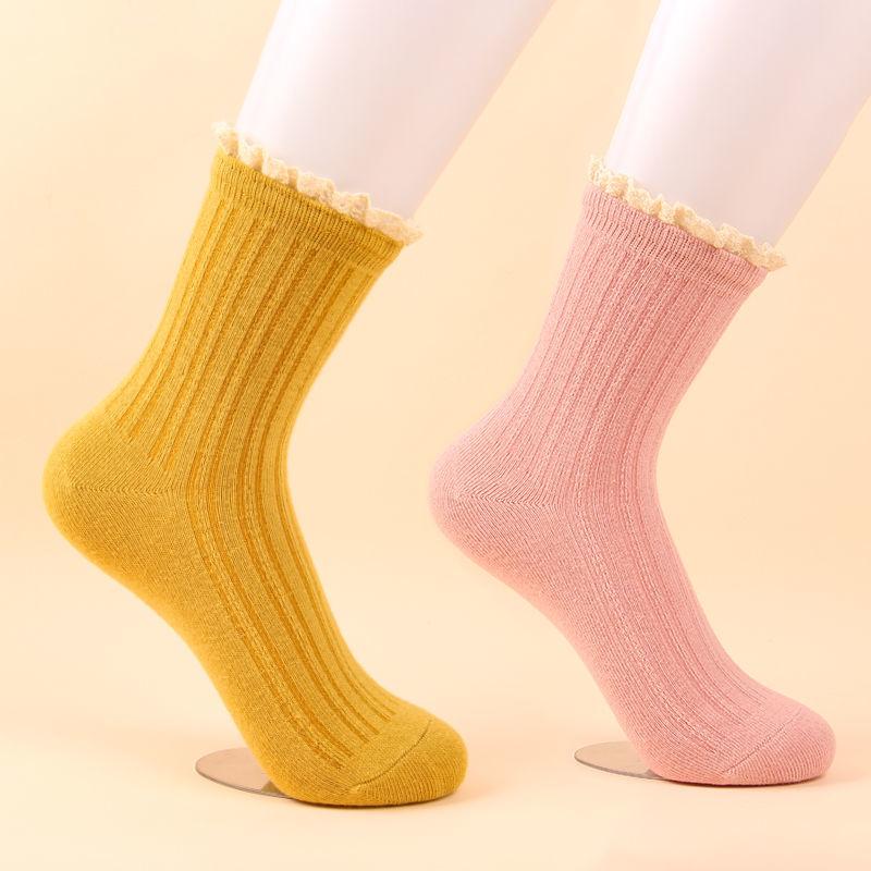 南极人5/10双装袜子女中筒日�系女袜秋冬季中厚韩版潮流花边袜