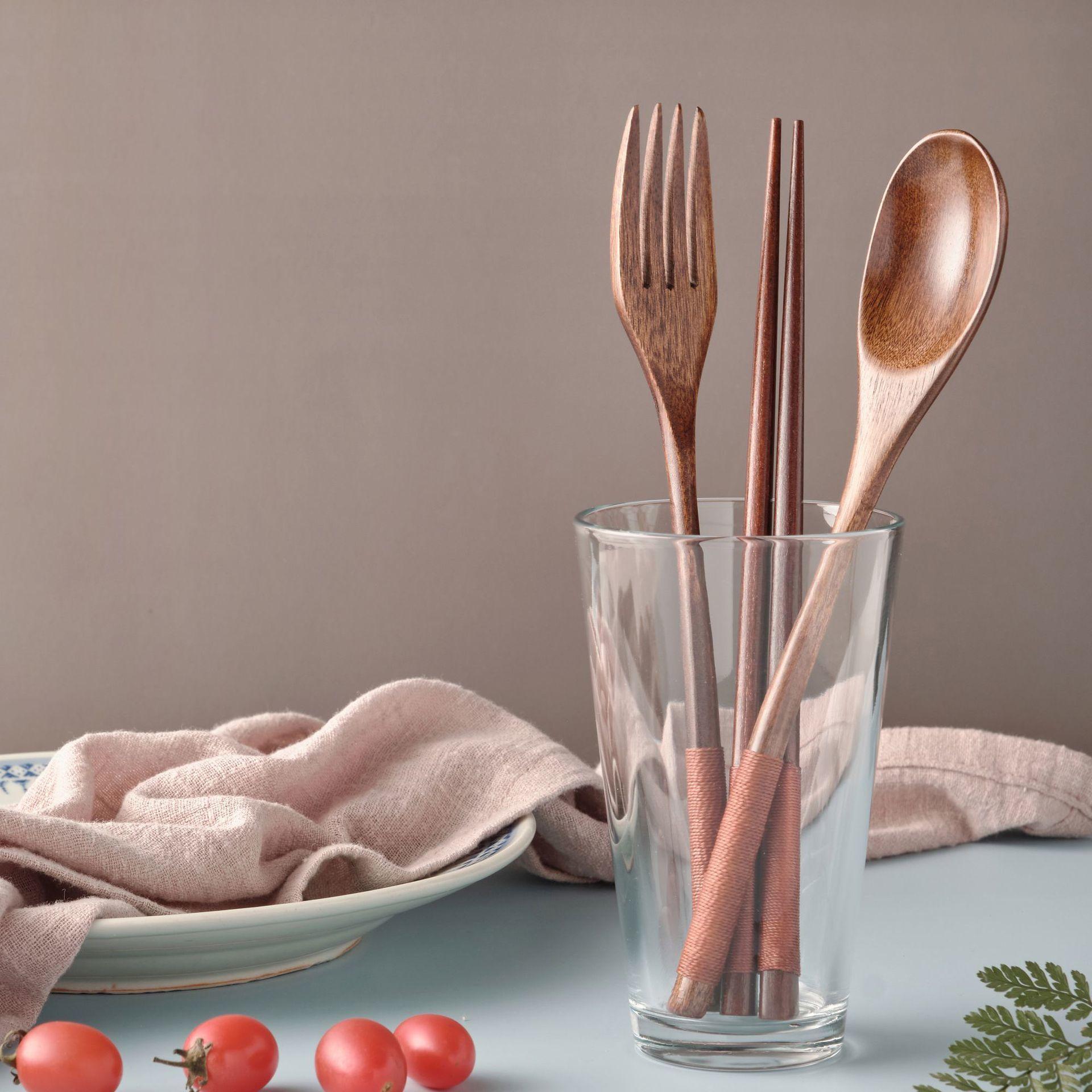 日式木质筷子叉子勺子三件套和式创意家用