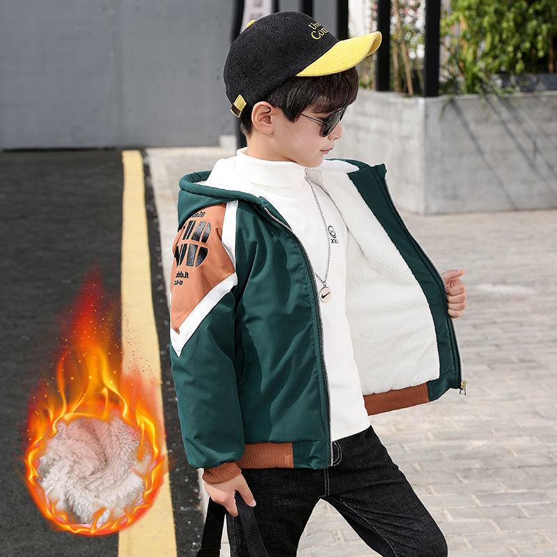 童装男童冬装外套秋冬装2020新款中大童儿童加绒夹棉夹克男孩洋气