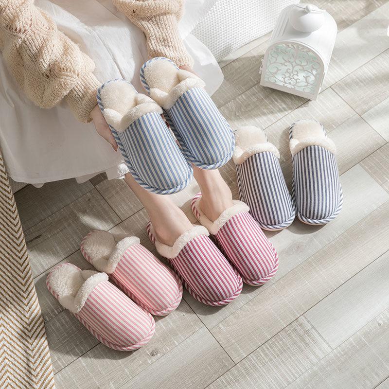 棉拖鞋家居秋冬季室内月子男女情侣居家用厚底防滑保暖冬天毛棉鞋